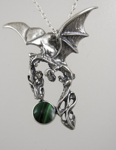 Sterling Silver Sky Dragon of the Morning Accented with a Genuine Malachite
