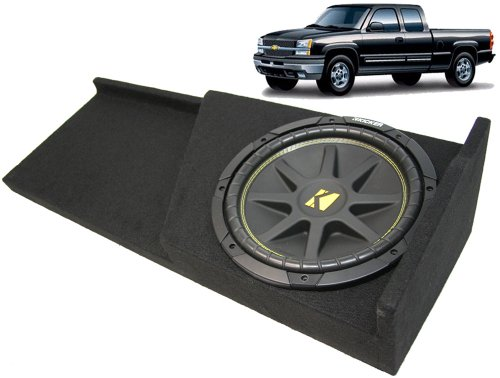 "Asc Package Chevy Silverado 07-13 Extended Cab 1500 Truck Single 12"" Kicker C12 Subwoofer Sub Box Enclosure 300 Watts Peak"