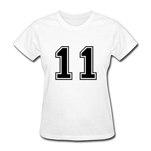 100% Cotton Cute Varsity Number 11 Tshirts For Woman - Round Neck front-747878