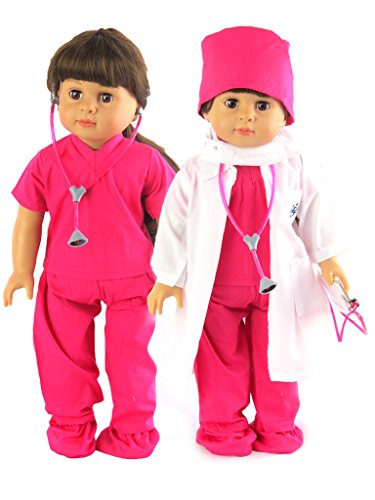 Hot Pink Doctor or Nurse 7 pc Set | 18 Inch Doll Clothes | Complete with White Doll Lab Coat, Face Mask, Medical Shoe Covers, Cap, Stethoscope, and Scrubs