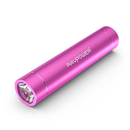 RAVPower 3000mAh モバイルバッテリー 超小型・スティックタイプ LEDライト付き クリップ付き 5V/1A iPhone5S,iPhone5C,iPhone5,iPhone4S,apple製品,Xperia,GALAXY S,softbank,au,docomo,Android,各種スマホ,Wi-Fiルータ等対応 1年保証(ピンク) RP-PB08