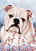 Bulldog White by Tamara Burnett Winter Berries Garden Dog Breed Flag 28'' x 40''