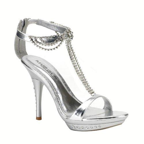 Fancy 4 1/4  Heel Rhinestone Imbedded Mini-Platform Sandal with Back Zip, by Pleaser USA
