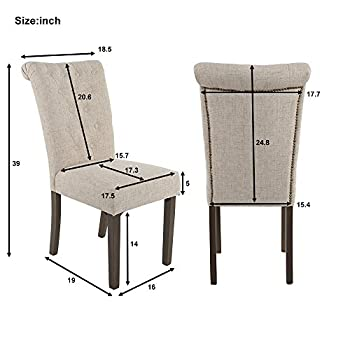 Merax Luxurious Fabric Dining Chairs with Solid Wood Legs Set of 2 (Beige)