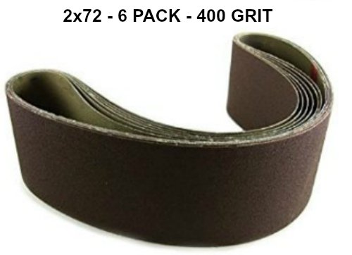 2x72 - 400 Grit 6 Pack - Premium Silicon Carbide Knife Sharpening Belts Made in USA