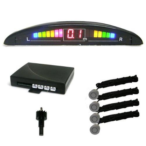 PS034S-aide-au-stationnement-capteurs-de-stationnement-avec-LED-cran-couleur-ARGENT-avec-4-capteurs