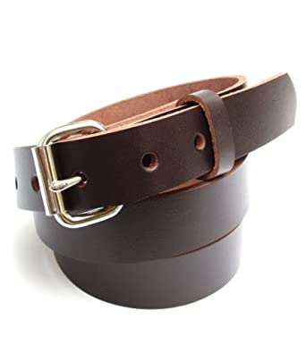 mens heavy duty chocolate brown leather belt 1 quot wide