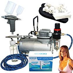 Complete Professional Turbo Tan Airbrush Sunless Tanning System with both a Single-Action Suction Feed Airbrush and a Trigger Style Gravity Feed Airbrush Gun plus a 4 Solution Variety Pack (1 Pint Total), and an Accessories Kit