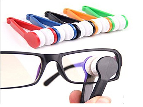 Small Microfibre Glasses Eyeglasses Cleaning Clip Brush Spectacles Sun Easy Sunglasses Cleaner (Random color will be shipped)