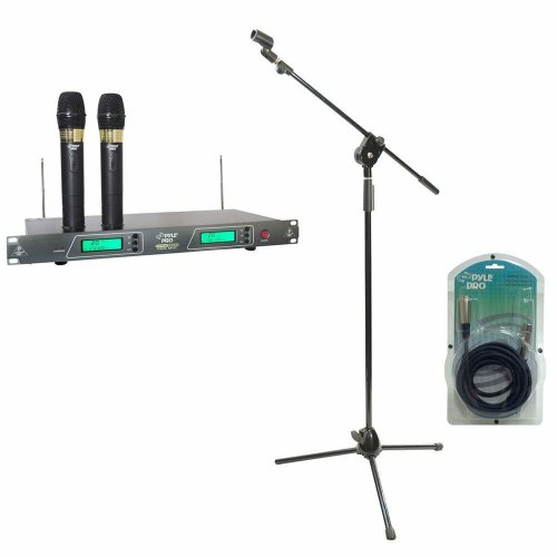 Pyle Mic And Stand Package - Pdwm2550 19'' Rack Mount Dual Vhf Wireless Rechargeable Handheld Microphone System - Pmks3 Tripod Microphone Stand W/ Extending Boom - Ppfmxlr15 15Ft. Xlr Male To Xlr Female Microphone Cable