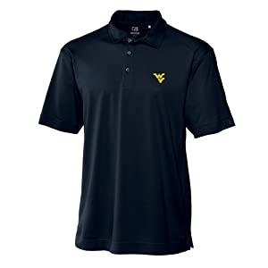 NCAA Mens West Virginia Mountaineers Navy Blue Drytec Genre Polo Tee by Cutter & Buck