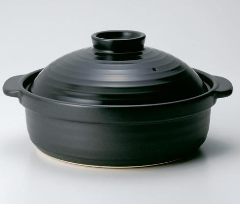 黒 土鍋 IH対応 10号 4-5人用 呑水付き 鍋セット IH鍋 鍋 美濃焼