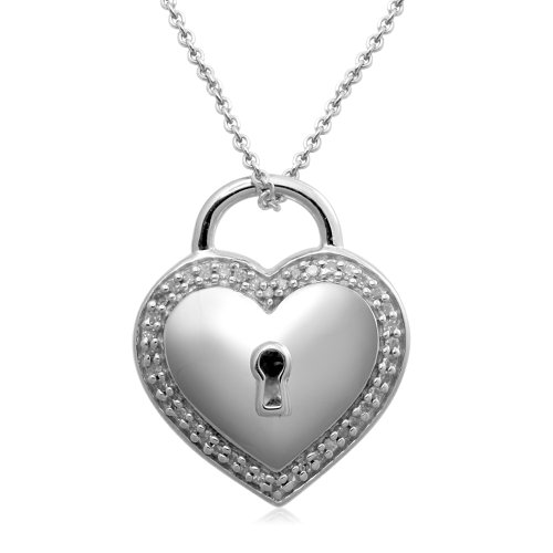 Sterling Silver Heart Pendant Necklace (1/10 Cttw, I-J Color, I3 Clarity), 18