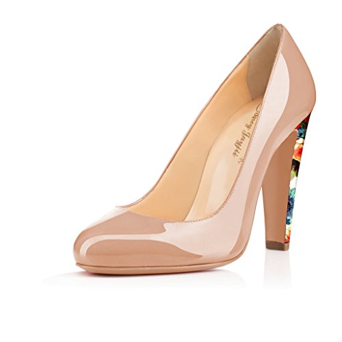 Nancy Jayjii Nude Patent Round Toe Chunky Heel Leather Dress Pumps Size 4