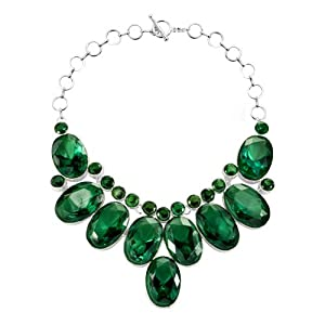 Pugster Chunky Bubble Emerald Green Bib Statement Water Drop Necklace Fashion Jewelry For Women