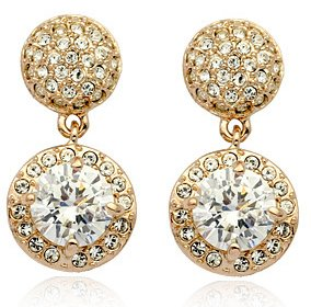 Excellant Sparkle drop Earings with Swarovski crystals 18ct Gold plated