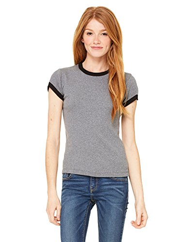 Bella Ladies Baby Rib Short Sleeve Ringer T-Shirt. 1007 - XX-Large - Deep Heather / Black