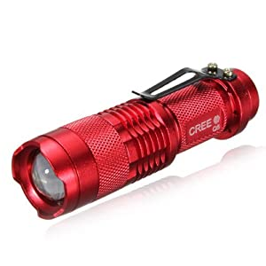 7W 300LM Mini CREE LED Flashlight Torch Adjustable Focus Zoom Light Lamp-Red(1 mode) by UltraFire