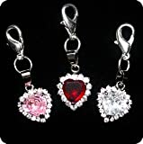 PURELY CHARMING Pet Charm/Pendant with Handset Swarovski Crystals - Solid Heart (Clear)