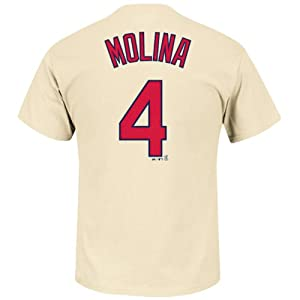 Yadier Molina #4 St Louis Cardinals MLB Mens Alternate Name & Number T-shirt Tan by Majestic