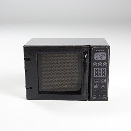 1:12 Wooden Microwave Oven Silver & Black Kitchenware Kitchen Miniature Doll Toy