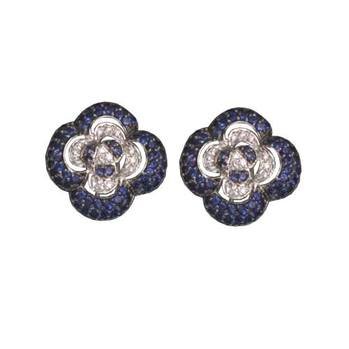 C.Z. AND SAPPHIRE RHODIUM PLATED (.925) STERLING SILVER EARRINGS