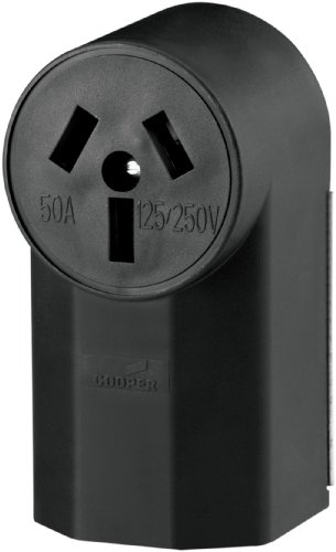 Cooper Wiring Devices Wd112 50-Amp 125-Volts 2-Pole 3-Wire Surface Mount Range Power Receptacle, Black