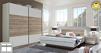 Schlafzimmer komplett 4-teilig 631419 weiß / san remo eiche