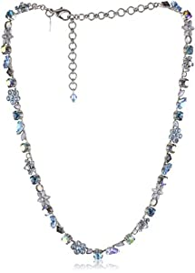 """Sorrelli """"Salt Water"""" Crystal and Opaque Stone Silver-Tone Necklace"""