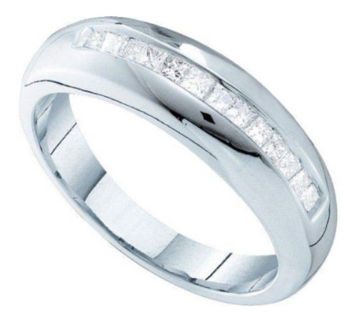 0.5 Cttw 14K White Gold Mens Princess Cut Diamond Wedding Band Anniversary Ring (Sizes 8-13)