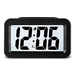 Hense Creative Nightlight Alarm Clock Bedside Desk Table Electronic Clock Battery Operated Mute Luminous Alarm Clock With Adjustable Light HA35 (Black)