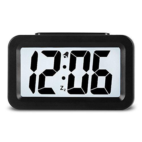 Hense Creative Nightlight Alarm Clock Bedside Desk Table Electronic Clock Battery Operated Mute Luminous Alarm Clock With Adjustable Light HA35 (Black) (Small Battery Clocks compare prices)