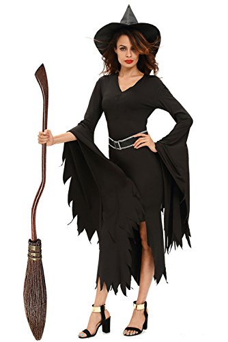 [Cfanny Women's Gothic Glamour Witch Halloween Costume,Black,Medium] (Glamour Witch)