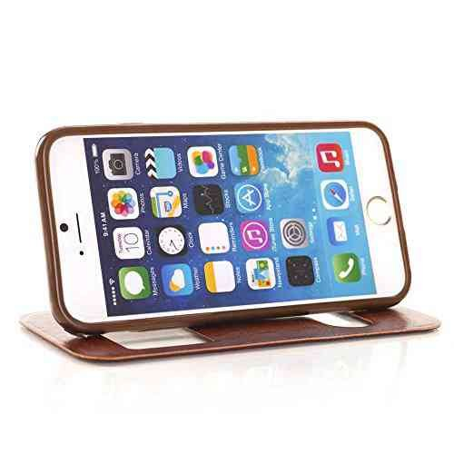 For Iphone 6 Case Cover,Nancy'S Shop Iphone 6 (4.7) Leather,Iphone 6 Leather Case,Iphone 6 Leather,Two Windows Design Leather With Stand Case Cover For Iphone 6 (4.7) (2014)- (Coffee-Apple Iphone 6 4.7 Nancy'S Shop Case Cover)
