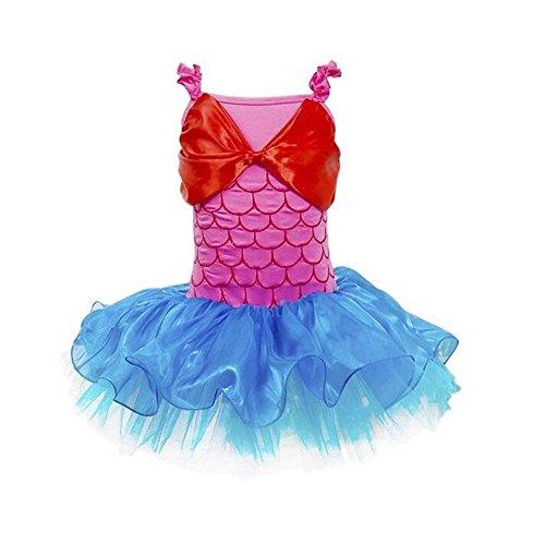 [MeQi Girls Mermaid Costume Bowknot Dance Dress Ballet Tutu Skirt] (Little Mermaid Tutu Dress)