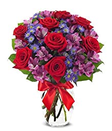 From You Flowers - Red Roses, Purple Alstroemeria, Purple Monte Casino - Mixed Bouquet (Free Vase Included)
