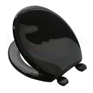 Carrara Matta ATLANTIC BS2 BLACK Coloured Plastic Toilet Seat And Cover With