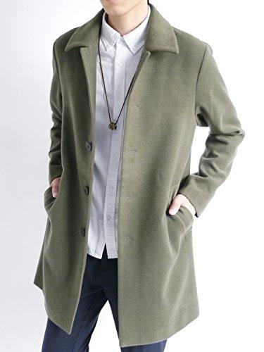 (モノマート) MONO-MART メルトン 起毛 コート チェスターコート ステンカラーコート 暖かい ロング丈 アウター オリーブ【ステンカラー】 Mサイズ