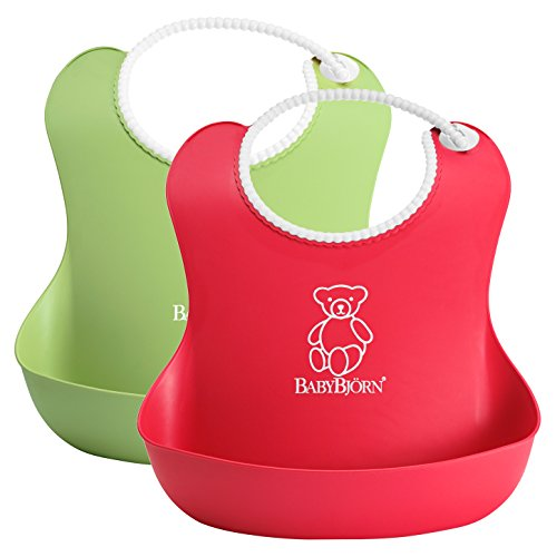 BabyBjorn Soft Bib 2 Pack - Green/Red - 1