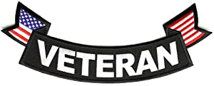 Veteran Patch - Large Bottom Rocker with US Flag, 11x4 inch, large embroidered iron on military vet patch