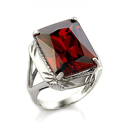 Jewelry - 8 Carat Sterling Silver Garnet CZ Ring