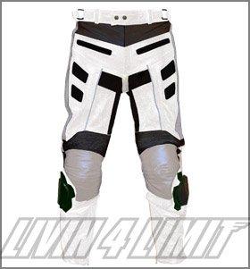 4LIMIT Sports pantalon moto >>Adrenalin<< en cuir blanc-noir
