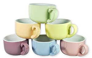 Francois et Mimi 14-Ounce Colored Ceramic Coffee/Soup Mugs, Large, Solid Pastel, Set of 6