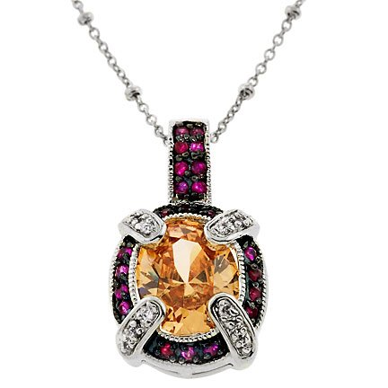 Cubic Zirconia Citrine Ruby Gemstone Silver Pendant (Cyber Monday Special Sale)