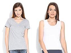 Happy Hippie Women's Combo T-shirt Grey-White