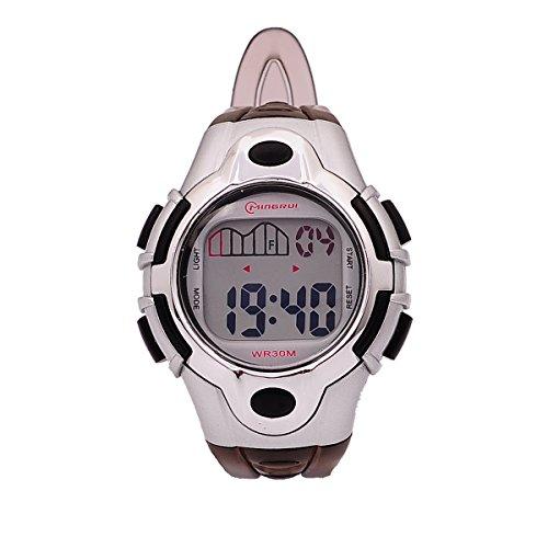 8Years- 1 Stueck Kinder LED Armbanduhr Digitaluhr Watch Stoppuhr Wasserdicht Sportuhr Schwarz