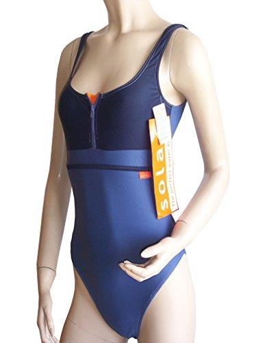 Solar sportlicher Badeanzug mit Reißverschluss 700841-50 blau/orange, Gr. 38 B-Cup