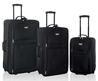 Genova Collection- 3 Piece Expandable Traveler's Set in Black