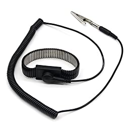 E-Durable Mental Reusable ESD Antistatic Anti Static Wrist Strap Components Band Grounding (Black)