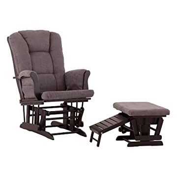 Status Veneto Glider and Nursing Ottoman, Black/Grey